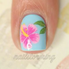 Hawaiian Flower Nail Art Designs 2018 Reny styles - All For Hair Color Trending Nail Art Designs, Flower Nail Designs, Flower Nail Art, Tropical Nail Designs, Pedicure Designs, Hawaiian Flower Nails, Tropical Flower Nails, Hawaiian Nail Art, Hibiscus Nail Art
