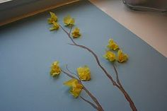 Spring Craft - Tissue Paper Forsythia  Pink Blossom would look just as good.