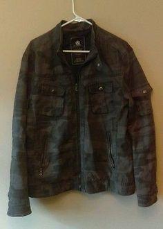 mens large rock republic grey camouflage jacket