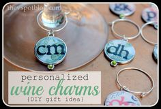 The V Spot: Personalized wine charms {Easy DIY} Mod Podge Crafts, Cork Crafts, 30 Gifts, Craft Gifts, Wine Gifts, Wine Glass Charms, Personalized Charms, Craft Tutorials, Diy Projects