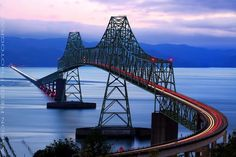 Walk across the Astoria bridge in the Great Columbia Crossing. 4.1 miles. Connects Washington and Oregon states at the mouth of the great Columbia River. Dismal Nitch, WA - Astoria, OR