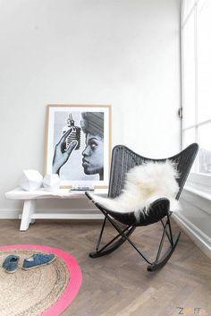 HK living - rieten schommelstoel - zwart