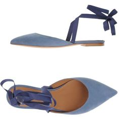 Vetiver Ballet Flats ($239) ❤ liked on Polyvore featuring shoes, flats, pastel blue, blue lace up flats, blue shoes, slingback flats, ballerina flat shoes and laced up flats