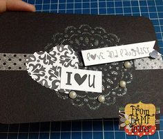 I Love You Card Stenciling and embossing