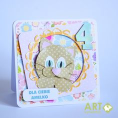 A birthday card with kitty - Scrapbook.com - Super cute peek-a-boo cat card!
