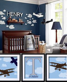 Airplane Art - Nursery or Toddler Room Decor - Boys Room -Personalized Vintage Airplane Print Set - 11 x 14. $60.00, via Etsy.