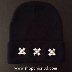 Studded Beanie - Black or Gray Beanie Hat - Triple XXX Design - Gold, Silver, or Black Studs by ShopChicStud