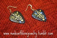 Guitar Pick Earrings (in blue) w/ Treble Clef Music Note Earrings  https://www.facebook.com/MadeWithLoveJewelryByShana