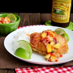 Beer Battered Fish with Banana Mango Salsa