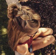dutch braid into a top knot