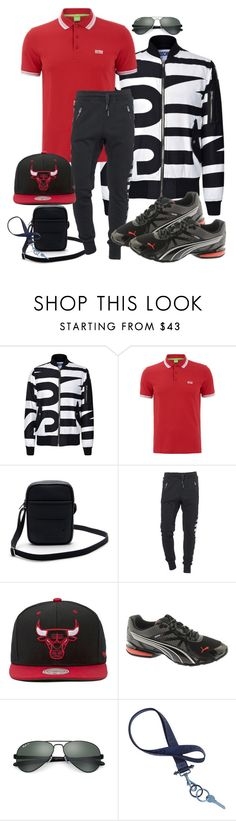 """Men stripe Style"" by fantasiegirl ❤ liked on Polyvore featuring Moschino, BOSS Green, Lacoste, True Religion, Mitchell & Ness, Puma, Ray-Ban, Givenchy, men's fashion and menswear"