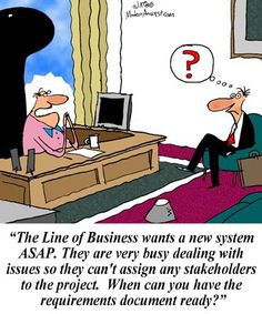 Humor - Cartoon: As a business analyst, do you ever have to guess the requirements Business Card Maker, Unique Business Cards, Business Gifts, Professional Business Cards, Business Management, Business Planning, Business Ideas, Business Analyst, Business Marketing