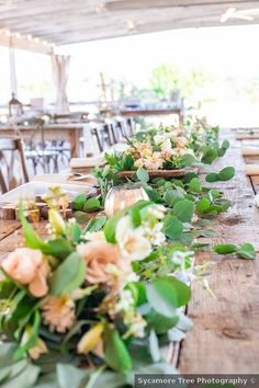 Wedding table decor ideas - greenery, flowers, roses, place setting, rustic, wood {Sycamore Tree Photography}