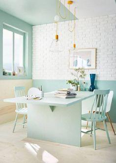 Pastel Kitchen Decor, Pastel Home Decor, Casa Retro, Retro Home, Tiffany Blue Walls, Interior Pastel, Home Decor Shelves, Style Loft, Home Office Setup