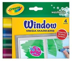 Crayola window markers, amuse the kids for at least an hour and they clean off so easy!
