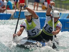 Mikhail Kuznetsov and Dmitry Larinov of Russia, compete to get the third place in the Rio 2016 Olympic Games doubles Kayak Canoeing test event at the Deodoro Radical Park in Rio de Janeiro, Brazil.  Nicolas Peschier, AFP/Getty Images
