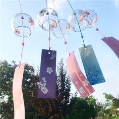 Japanese Culture Glass Wind Bell Small Sakura Wind Chimes Home Hanging Decor
