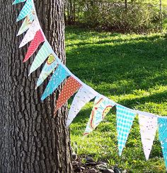 Fabric Bunting in the wind by bleuvanille, via Flickr