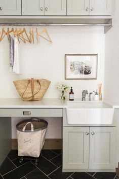 Modern Farmhouse Mudroom & Laundry Room with Sage Cabinets + Farmhouse Sink via House of Jade Interiors // Laundry Room Ideas, Decorating Ideas, Mudroom Ideas, Interior Design, Modern Farmhouse Mudroom Laundry Room, Laundry Bin, Laundry Room Remodel, Farmhouse Laundry Room, Laundry Room Cabinets, Laundry Room Organization, Laundry Room Design, Laundry Basket, Organization Ideas