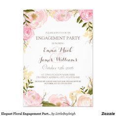 Elegant Floral Engagement Party Invite