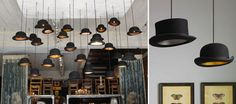 DIYable: TOP HAT LIGHTING .........  Prep It!: 1) Top hat –  buy them online ($7 to $60) or at flea markets, costume stores, etc. also use bowler hats too!  2) lighting cord kits ($6 to $12); 3)  screw hooks; 4) optional: lamp base w/a screw top lamp shade bracket; 5) sharp utensil to poke a hole hat