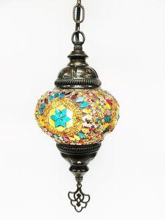 Turkish mosaic hanging lamp (6 inc wide 21 inc long)