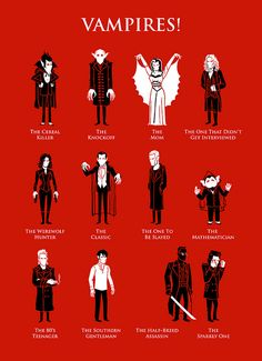 Vampires! by Ben Douglass, via Flickr (Count Chocula, Nosferatu, Addams Family - Morticia, Interview with the vampire - lestat, Underworld - Selene, Count Dracula, Buffy the vampire slayer - Spike, sesame street - count von count, lost boys, true blood - bill compton, blade, and twilight - edward cullen)
