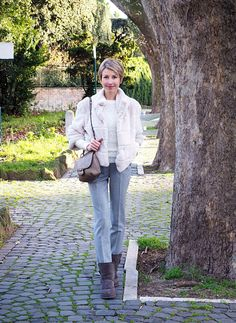 #fashion #style #look #outfit #closet #wear #dressup #booties #fauxfur #grey #fashionable #chic #streetstyle #style #white  www.coffeeblooms.com   Comfy & Furry, Tailleur Pants & Booties   Coffee Blooms