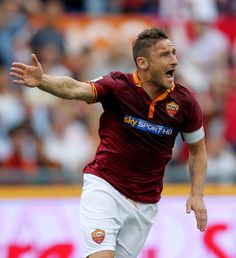 Francesco Totti of AS Roma reacts during the Serie A match between AS Roma and Juventus at Stadio Olimpico on May 11, 2014 in Rome, Italy.