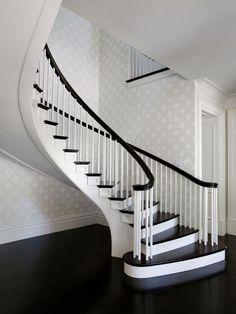 Markay Johnson Construction - entrances/foyers - winding staircase, twist staircase, floating staircase, ebony floors, black wood floors, eb...