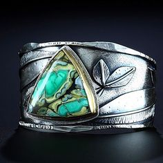 """161 Likes, 11 Comments - Amy Buettner Tucker Glasow (@amybuettnertuckerglasow) on Instagram: """"The Nonpareil Clay Canyon Variscite . • • • #cuff #bracelet #sterlingsilver #18k #claycanyon…"""""""