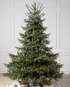 Pre-lit with 600 Candlelight LED lights, the European Fir boasts 1, 444 branch tips and measures 5.5 feet tall and 52 inches wide. This highly realistic artificial Christmas tree has a full profile and features dark green needles with semi-flat tips and branches crafted from a combination of PE True Needle foliage (76%) and PVC Classic Needles (24%) for fullness. Sparse by design to showcase your favorite ornaments, it features our exclusive Easy Plug technology with pre-connected wires in the t Artificial Christmas Tree Sale, Natural Christmas Tree, Real Christmas Tree, Christmas Mood, Christmas Lights, Christmas Ideas, Douglas Fir Christmas Tree, Realistic Christmas Trees, Minimalist Christmas Tree