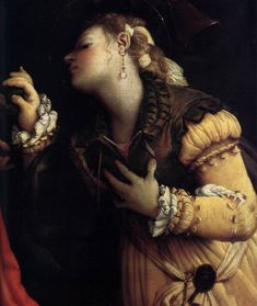 """Lorenzo Lotto, """"Mystic Marriage of St. Catherine"""". Look at those slashed sleeves!"""