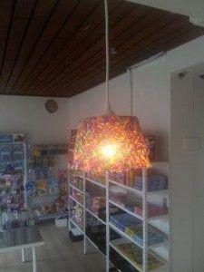 Nice lampshade of Hama perls. In danish.