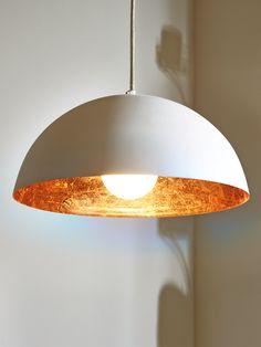 White & Copper Pendant Lightshade – Ceiling Lights – Lighting Source by Dining Room Lighting, Ceiling Lights, Home Lighting, Copper Lighting, Lights, Dome Pendant Lighting, Room Lamp, Kitchen Ceiling Lights, Living Room Lighting