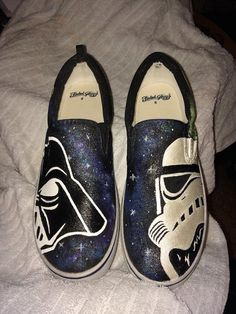 Star Wars Themed Hand Painted Canvas Slip On Shoes