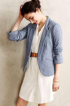 Anthropologie-Two-Pocket Knit Blazer Work Fashion, Fashion Outfits, Womens Fashion, Anthropologie, Knit Blazer, Blazer Dress, Belted Dress, Jacket Dress, Vogue