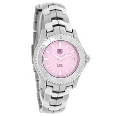TAG HEUER LADIES LINK SERIES SWISS QUARTZ WATCH  - Brushed-polished Stainless Steel Case & Bracelet - Pink Mother Of Pearl Dial - Silver Tone-luminous Hour & Minute Hands - Silver Tone Line Hour Markers - Date Window at 3:00 Position - Rotating Bezel Engraved with Minute Markers