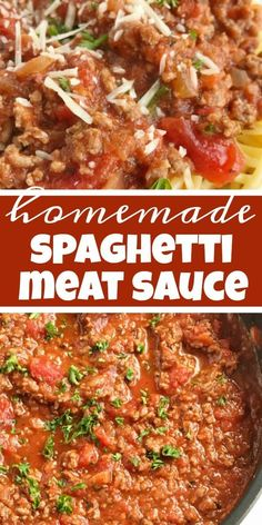 Homemade Spaghetti Meat Sauce Spaghetti Pasta Recipe Ditch the canned spaghetti sauce for this flavorful beefy homemade spaghetti meat sauce Only takes a few minutes t. Spagetti And Meat Sauce, Homemade Spaghetti Meat Sauce, Homemade Meat Sauce, Pasta With Meat Sauce, Meat Sauce Recipes, Spaghetti Recipes, Pasta Recipes, Cooking Recipes, Spaghetti With Italian Sauce