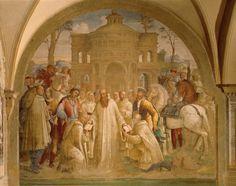 Benedict sending Mauro to France and Placido to Sicily, scene from Stories of St Benedict of Monte Oliveto Maggiore, by Bartolomeo Neroni, (circa 1505-1571), fresco, Great cloister, Abbey of Monte Oliveto Maggiore, Asciano, Italy, 1540