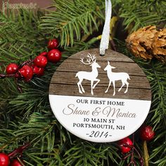 Home Ornament - Rustic Deer - Personalized Porcelain New House Holiday Ornament - Housewarming - orn463