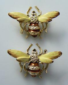 2 Vintage Enamel Bumble Bee Pin by 242VintageLane on Etsy, $25.00
