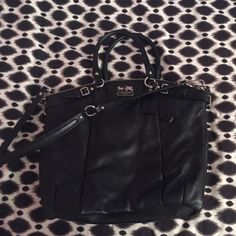 Coach Madison Leather Lindsey Satchel Tote Black leather, barely used, shoulder strap, arm handles, roomy interior! Coach Bags Totes
