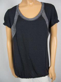 LULULEMON Gray Black Tunic Tank Shirt Top 10 M Breathable Mesh Drawstring Run