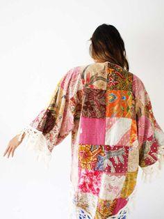 'Kahana' bohemian patchwork kimono. Lovely crochet detail.
