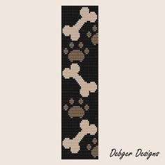 What a cute pattern! Give a dog a bone Loom Bracelet Cuff Pattern… Beading Patterns Free, Seed Bead Patterns, Beaded Jewelry Patterns, Peyote Patterns, Weaving Patterns, Loom Bracelet Patterns, Bead Loom Bracelets, Bead Loom Designs, Beaded Banners
