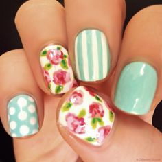 Amazing idea for your next manicure! http://adifferentshade.tumblr.com/post/79683550366/floral-nail-art-original-nail-art-at