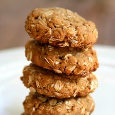 Peanut Butter Cookies:1/2c. peanut butter, 1/2 c. brown sugar, 1 egg, 1 1/4 c. rolled oats, 1/2 tsp. baking soda. 350 for 8 minutes