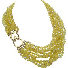Stunning Nine Strand Ciner Yellow Crystal Torsade Necklace