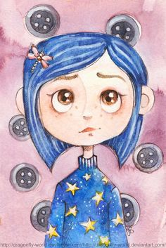 Coraline Portrait by dragonfly-world on DeviantArt Disney Kunst, Arte Disney, Disney Art, Disney Ideas, Coraline Jones, Cute Disney Drawings, Cute Drawings, Drawing Disney, Cartoon Kunst